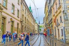 Caminhada em Lvov fotografia de stock
