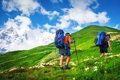 caminhada em montanhas do verão imagens de stock