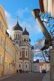 Caminhada em Tallinn foto de stock