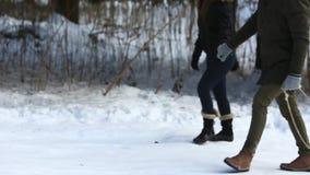 Caminhada feliz dos pares na floresta da neve eles que se vestiram na roupa do inverno video estoque