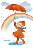 Caminhada na chuva Imagens de Stock Royalty Free