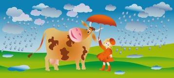 Caminhada na chuva Fotografia de Stock Royalty Free