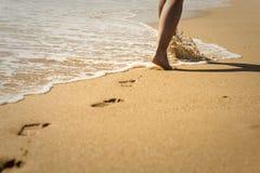 Caminhada na praia Fotografia de Stock