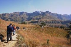 Caminhada nas montanhas Fotografia de Stock Royalty Free