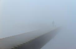 Caminhada nevoenta fotografia de stock