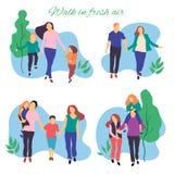 Caminhada no ar fresco Ilustração estilizado do vetor da família nova ativa Estilo de vida saudável Povos no illustrat liso do ve ilustração do vetor