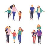 Caminhada no ar fresco Ilustração estilizado do vetor da família nova ativa Estilo de vida saudável Povos no illustrat liso do ve ilustração stock