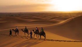 Caminhada no deserto do ERG em Marrocos Foto de Stock Royalty Free