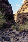 Caminhada no desfiladeiro Masca Console vulcânico Montanhas da ilha de Tenerife, Ilhas Canárias, Espanha fotos de stock