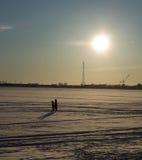 Caminhada no gelo Fotografia de Stock Royalty Free