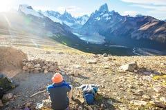 Caminhada no Patagonia imagem de stock royalty free