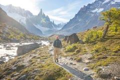 Caminhada no Patagonia fotografia de stock royalty free