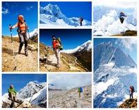Caminhada no walley de Khumbu imagem de stock