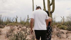 Caminhada romântica nova dos pares do viajante da opinião da parte traseira do movimento lento que guarda as mãos em deserto surp video estoque