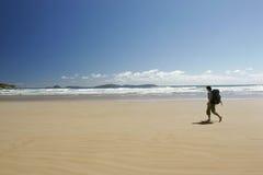 Caminhada solitária da praia Imagem de Stock Royalty Free