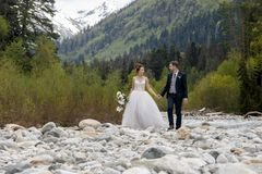 Caminhada Wedding A caminhada dos noivos ao longo do banco de rio, guardando-se mãos do ` s Retrato da noiva e do noivo fotos de stock