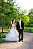 Caminhada Wedding para o por do sol foto de stock royalty free
