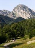 Caminhadas da família nas montanhas fotos de stock royalty free