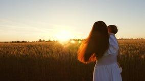 Caminhadas do verão da mamã e do bebê no campo mãe e criança do curso Conceito da fam?lia feliz Uma mãe nova com ela pouco video estoque