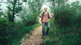 Caminhadas do viajante do homem ao longo de um trajeto com um estilo de vida do curso da floresta da montanha Imagem de Stock Royalty Free