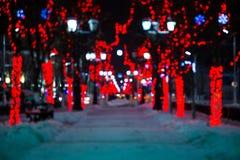 Caminhadas em uma aleia da noite Imagem de Stock Royalty Free