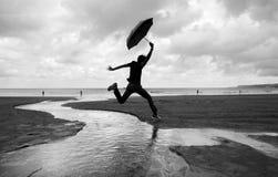 Caminhadas parvas em uma praia molhada Foto de Stock Royalty Free