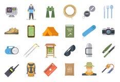 Caminhando ícones lisos do vetor ilustração stock