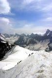 Caminhando a cimeira de Europa, Mont Blanc Fotografia de Stock