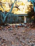 Caminhando a montanha exterior do amarelo da ponte Fotografia de Stock