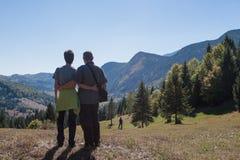 Caminhando nos Carpathians orientais, Apls Fotografia de Stock