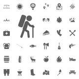 Caminhando o ícone Acampamento e ícones exteriores da recreação ajustados ilustração royalty free