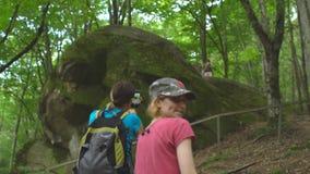 Caminhando o grupo de turistas no parque natural selvagem da selva nas montanhas Mulher bonita com a trouxa que faz a foto perto vídeos de arquivo