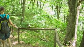 Caminhando o grupo de turistas que vêm para baixo escadas no parque natural selvagem da selva nas montanhas Fuga de caminhada do  filme