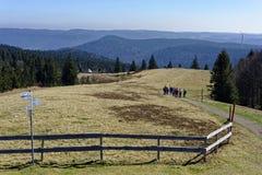 Caminhando o grupo no cenário da montanha da Floresta Negra fotografia de stock