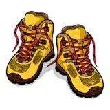 Caminhando o isolado das botas, esboço da cor, garatuja fotografia de stock royalty free