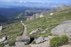 Caminhando o trajeto na montagem Evans, Colorado Imagens de Stock