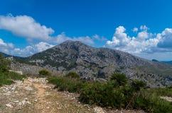 Caminhando o trajeto no Tramuntana em GR 221, Mallorca, Espanha Imagens de Stock Royalty Free