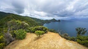 Caminhando a passagem litoral de Coromandel, Nova Zelândia 1 imagens de stock