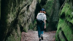 Caminhando trekking nas montanhas Ideia traseira da parte traseira de uma mulher nova do hóquei que anda ao longo do caminho com  filme