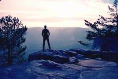 Caminhante auto-confiante na pose do akkimbo no pico da rocha imagens de stock royalty free