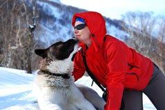 Caminhante com um cão Imagens de Stock