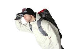Caminhante do inverno com a mochila isolada Fotos de Stock Royalty Free
