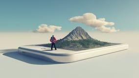 Caminhante e um smartphone com uma montanha 3d Imagens de Stock Royalty Free