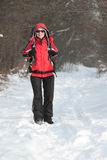 Caminhante na floresta do inverno Imagens de Stock