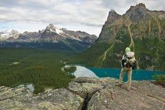 Caminhante nas Montanhas Rochosas canadenses Foto de Stock