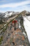 caminhante no cume da montanha Imagens de Stock