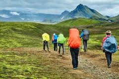 Caminhantes nas montanhas Foto de Stock