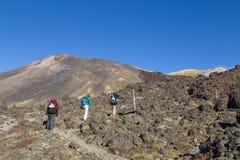 Caminhantes nenhuns o cruzamento de Tongariro, Nova Zelândia fotos de stock