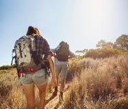 Caminhantes que andam com a experimentação da montanha Fotografia de Stock Royalty Free