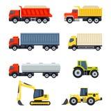 Caminhões e tratores ajustados Ícones lisos do vetor do estilo Fotografia de Stock Royalty Free